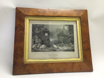 Artwork: Wooden framed lithograph 'The Fox Silently Entering the Poultry Yard'; 1836; AR#1704