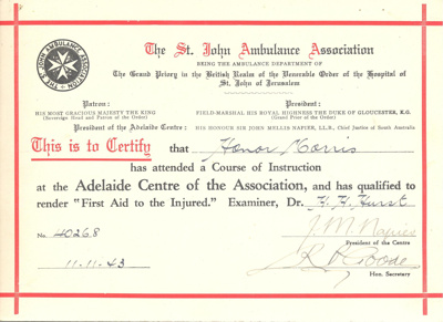 Document: First aid to the injured certificate belonging to Honor Morris; 1943; AR#40