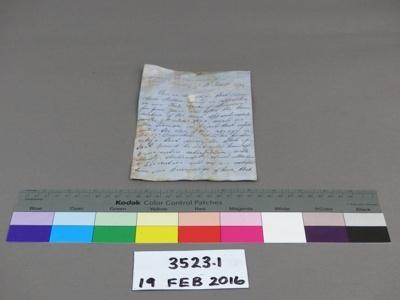 Letter; Unknown; Unknown; 3523.1