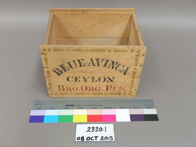 Wooden tea crate; Unknown; Unknown; 2330.1