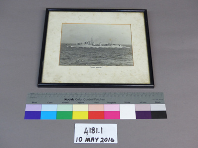 Framed photograph of HMS MAORI, ( L24, F24, G24, ) 1938. 1821 displacement tons. Involved in the BISMARK action. On 12 February 1942 the MAORI was bombed and sank, with the loss of one crew member, in the Malta Grand Harbour. After some shifting to a site off Fort St Elmo the vessel was scuttled. Now a popular dive site.; Unknown; 1938; 4181.1