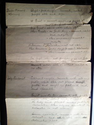 Document detailing Catholic Apostolic Church Vestments; Percy Mitchell; 7.3