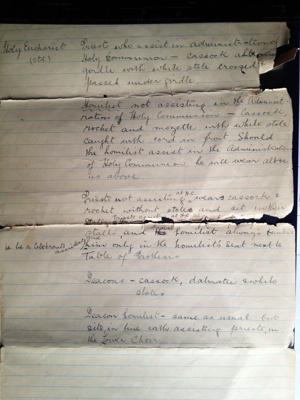 Document detailing Catholic Apostolic Church Vestments; Percy Mitchell; 7.4
