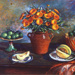 Calendulas and honey dew melon; Margaret Olley; 1982; 10