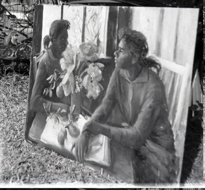 (Aboriginal girls with vase of solandras); Margaret Olley; 1960s