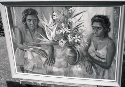 (Aboriginal girls with floral arrangement); Margaret Olley; 1963