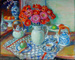 Zinnias with two teapots; Margaret Olley; 2007
