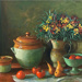 Wallflowers and fruit; Margaret Olley; 1981