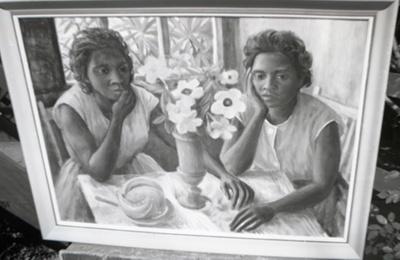 (Aboriginal girls with vase of hibiscus and alamandas); Margaret Olley; 1960s