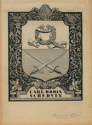 Carl Boris Schedvin (Bookplate); Gayfield SHAW, 1885-1961; 1944; 1945_24_5