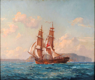 "H.M.S. ""Supply"" Entering Port Jackson; John ALLCOT, 1888-1973; 1937; 1938_46"