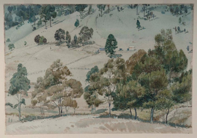 Hillside and Wattle Trees; Lorna NIMMO, 1920-1991; 1941; 1943_44
