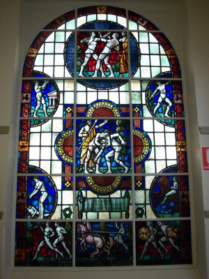 The Glory of Athletics [stained glass window]