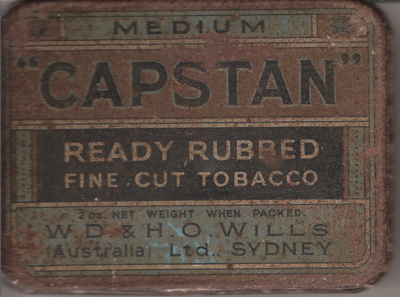 "Medium ""CAPSTAN"" Ready Rubbed Fine Cut Tobacco ; W.D. & H.O. Wills (Australia), Sydney; 1950?; 1518.3"