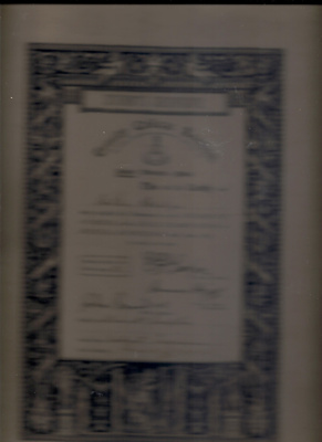 "Hilda Bridges"" Framed Music Certificate"