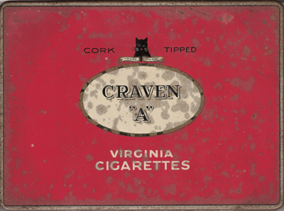"Cork Tipped CRAVEN ""A"" Virginia Cigarettes; Carreras Limited - Arcadia Works; 1940-1960??; 1518.2"