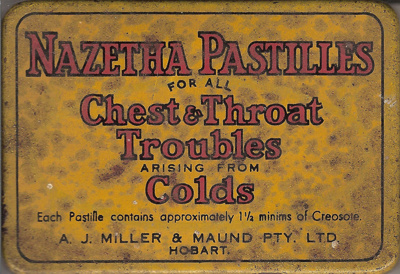 Nazetha Pastilles for all Chest & Throat Troubles arising from Colds; A.J. Miller & Maund Pty Ltd; 1920-1950?; 1518.4