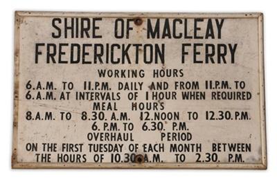 Frederickton Ferry Timetable Sign ; 02110
