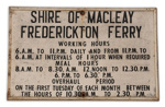 Frederickton Ferry Timetable Sign ; 02110