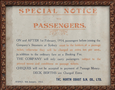 North Coast Steam Navigation Co. Ltd. Sign ; 1914; 03304