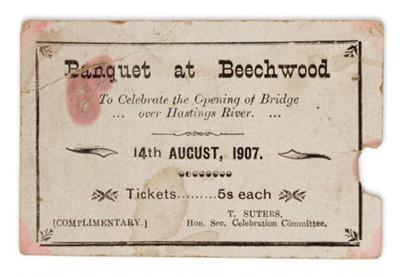 Banquet Invitation, Bain Bridge Opening ; 1907; 2014/003