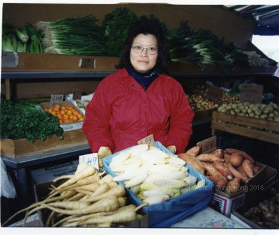 Fruit and Vegetable Stall  woman with red jacket; Mark Wilson; 1998; CCPDM3