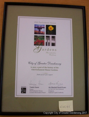 Old parliament House and Gardens certificate; CVC 61