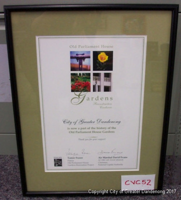 Old parliament House and Gardens certificate; CVC 52