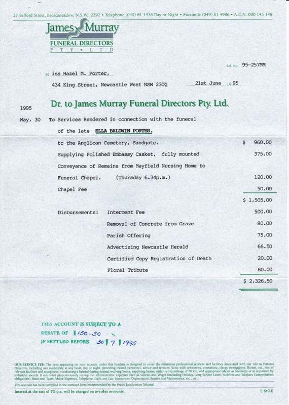 Correspondence - Invoice from James Murray Funeral ...
