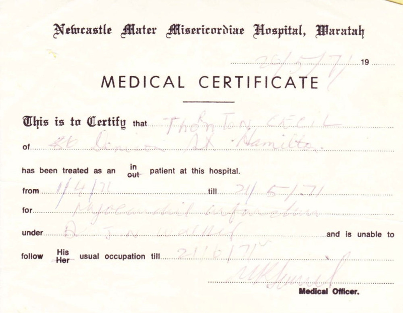 Personal Papers  Medical Certificate Cecil Roy Thornton  Ph