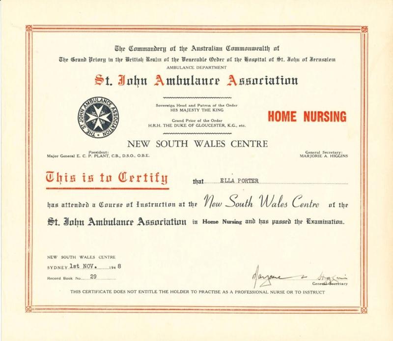 Ephemera Home Nursing Certificate Awarded To Ella Porter 1st