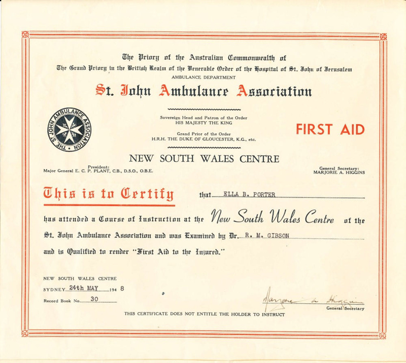 Ephemera First Aid Certificate Awarded To Ella Porter 24th May