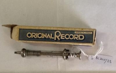 Small glass and metal syringe and box; Original Record; BC2015/33