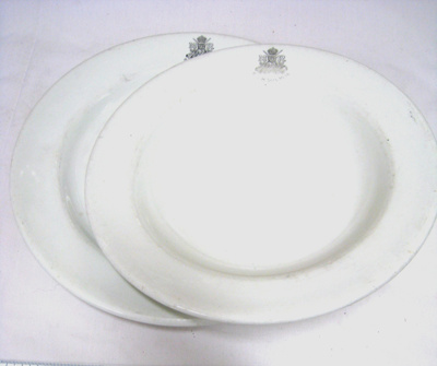 Plates from the 6th Light Horse Sergeants Mess; Hotel Ware Johnson Bros; c. 1915; OWM2015/185:1-2