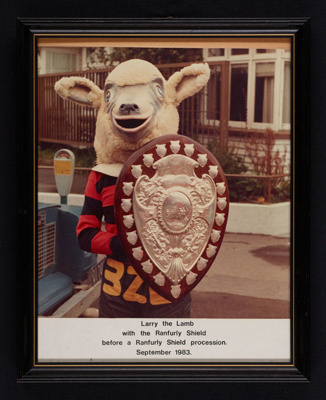 Photo - Larry the Lamb with the Ranfurly Shield - 1983; 1115