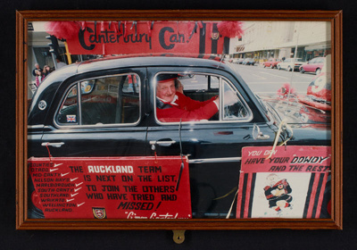 Photo - Pal in car in Ranfurly Shield parade - 1995; 1114
