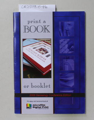 Booklet, PRINT A BOOK OR BOOKLET; Microfilm Digital Print; 2006; 0-473-06280-1; CR2019.096