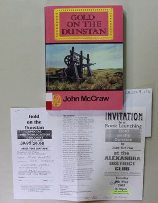 Book, GOLD ON THE DUNSTAN; John McCraw; 2003; 0 908562 59 4; CR2019.116
