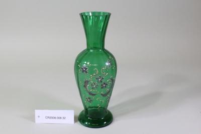 Victorian green glass vase; Unknown maker; Unknown; CR2008.008.32