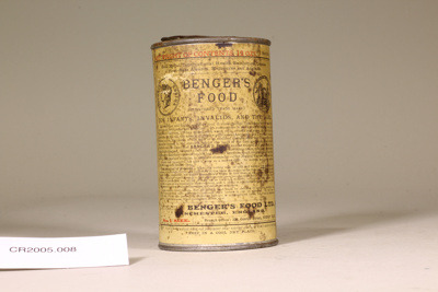 Tin can with infant food contents; Unknown maker; Unknown; CR2005.008