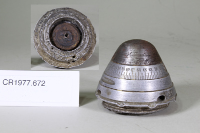 Nose cap of WW I anti aircraft shell; Unknown maker; WW I; CR1977.672