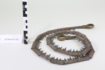 Wood cutting trench saw blade in a leather case; Francis Wood & Son - saw; D.W. ORR & Co - leather case; Unknown; CR1994.019.13