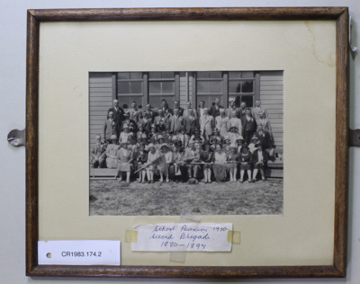 Black & white photograph, Cromwell District High School, 1930 Reunion of  1880-1897 Second Brigade ; Unknown; Unknown; CR1983.174.2