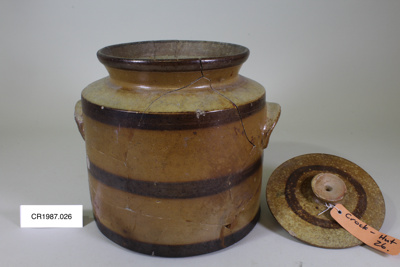 Crock - earthenware; Unknown maker; unknown; CR1987.026.a and b.