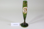 Bohemian Moser green bud vase ; Unknown maker; Unknown; CR2008.008.25