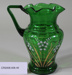 Victorian green glass jug with fluted top; Unknown maker; Unknown; CR2008.008.49
