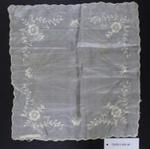 Cream silk embroidered handkerchief; Unknown maker; Unknown; CR2015.009.48