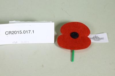 Anzac commemorative poppy; Unknown maker; c. 2015; CR2015.017.1