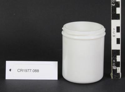 White opaque marmite jar. (Screw lid missing); Marmite Company; unknown; CR1977.088