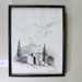 Framed ink drawing, Lowburn miner's cottage; Unknown; CR2012.001